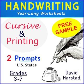 FREE - Cursive Handwriting & Printing Practice Worksheets (Grades 3-7)