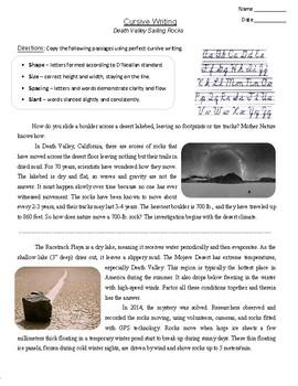 "FREE - Handwriting Practice ""Death Valley Sailing Rocks"" (Grades 3-7)"