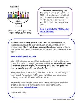 FREE Hanukkah Menorah Logic Puzzle