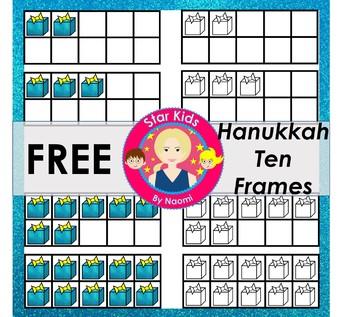 Hanukkah Ten Frames Clipart - FREE {Commercial Use OK}