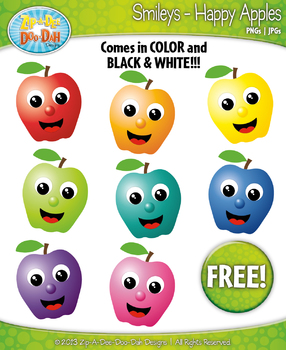 FREE Happy Apple Smiley Clipart Set Faces Emotions Clip Ar