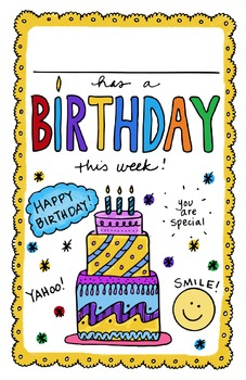 doodle notes free happy birthday locker cubby sign tpt