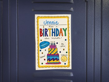 Doodle Notes - FREE Happy Birthday Locker/Cubby SIGN