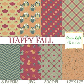 FREE Happy Fall Backgrounds / Autumn Digital Papers / Fall Digital Paterns