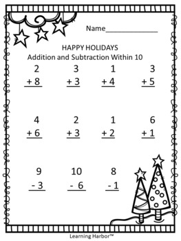 free happy holidays addition and subtraction within 10 printable worksheet. Black Bedroom Furniture Sets. Home Design Ideas