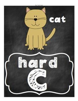 FREE Hard / Soft G & C Posters - chalkboard theme