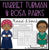 FREE Harriet Tubman & Rosa Parks Reading Passage & Comparing Sort