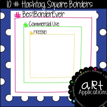 FREE Hashtag Square Borders (Commercial Use)