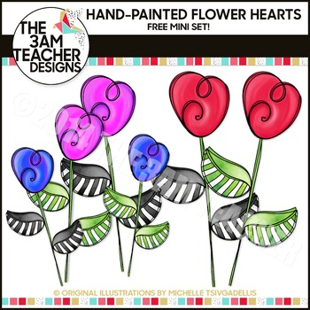 FREE Heart Flower Doodles Mini Clipart Set