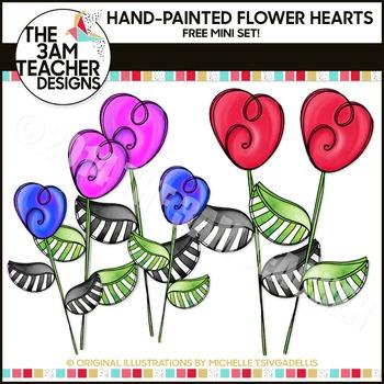 FREE Heart Flower Doodles Mini Clipart Set