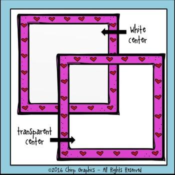 FREE Heart Frames Clip Art Set - Chirp Graphics