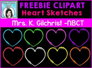 (FREE) Heart Sketches Clip Art