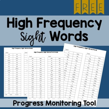 FREE High Frequency Sight Word Assessments