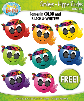 FREE Hippie Dude Smiley Clipart Set Faces Emotions Clip Ar