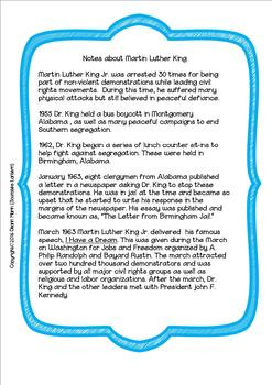 FREE: Historical Notes & Task Cards for Martin Luther King Jr (Grades 6-8)