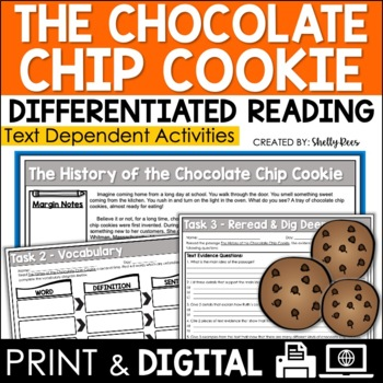 FREE History of the Chocolate Chip Cookie Close Reading Passage & Worksheets