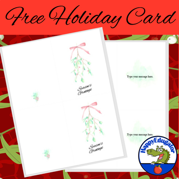 FREE Holiday Card - EDITABLE Seasons Greetings with Mistletoe
