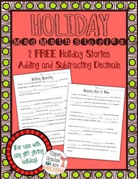 FREE Holiday Mad Math Stories - Add/Subtract Decimals