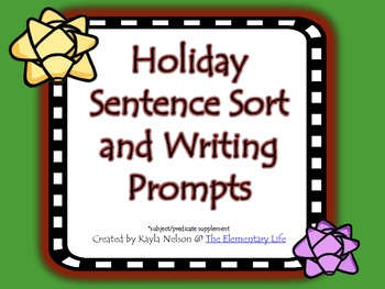 FREE Holiday Sentence Sort and Writing Prompt
