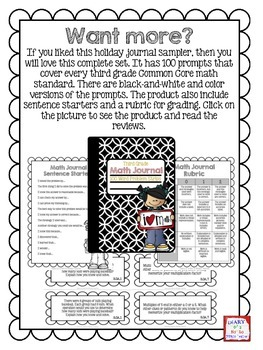 FREE Holiday Third Grade Math Journal Strips