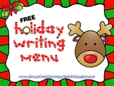 FREE Holiday Writing Menu