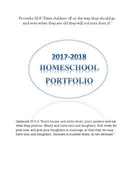 FREE Home School Portfolio 2017-2018 Attendance, Reading Log, and Field Trip Log