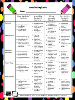 FREE Home Writing RUBRIC Printable Templates Bright and Colourful