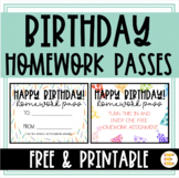 FREE Homework Birthday Passes in Black/White and Color!