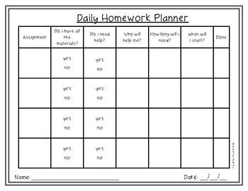 FREE Homework Daily Planner