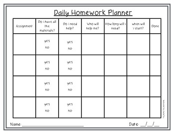 FREE Homework Daily Planner