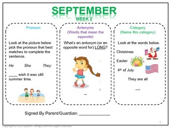 Speech Therapy FREE Homework Language September Sample