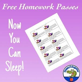 FREE Homework Pass - Now You Can Sleep Reward Tickets