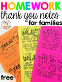 FREE Homework Thank You Notes for Families