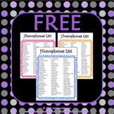 Homophones List (FREE)