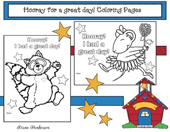 "FREE ""Hooray For A Great Day!"" Back To School Coloring Pages"
