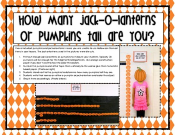 FREE How Many Jack-O-Lanterns or Pumpkins Tall Are You? Graphing Activity