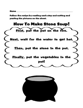 FREE How To Make Stone Soup Read, Cut And Paste Activity-Nice for Thanksgiving!
