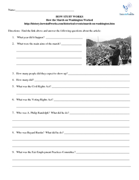 FREE!!!  How the March on Washington Worked Internet Assignment U.S. History