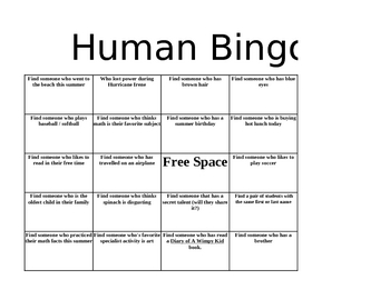 free human bingo get to know you activity
