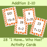 FREE! I Have, Who Has? Activity: Addition Numbers 1-20, 28 Cards
