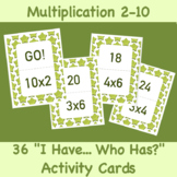 FREE! I Have, Who Has? Activity: Multiplication Numbers 2-