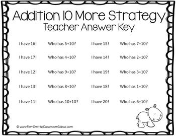 FREE I Have, Who Has? Addition Facts - Plus Ten - Ten More