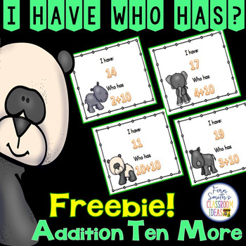 FREE I Have Who Has Game Addition Facts - Plus Ten - Ten More