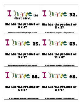 FREE I Have, Who Has Multiplication Review Game