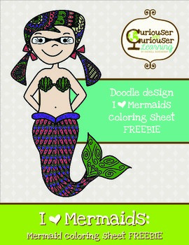 FREE! I Love Mermaids Doodle Art Coloring page