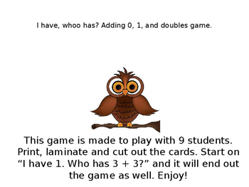 FREE I have, Whoo has? Adding 0, 1 and Doubles Owl Themed Game.
