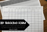 FREE IEP TRACKING FORM for Speech Therapy Intervention