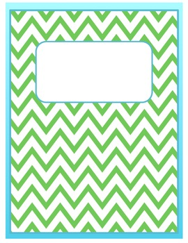 FREE Ice Blue and Green Chevron Binder Cover