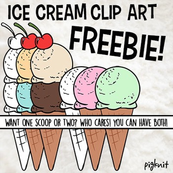 FREE Ice Cream Cone Clip Art in Multiple Flavors and B&W |