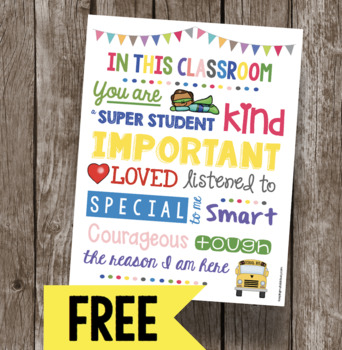 FREE In this Classroom Poster - Rules - Expectations - Back to School